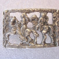 Vintage Knight Brooch Silver Tone Metal Rectangular Brooch Pin Knights on Horses Medieval Costume Jewelry