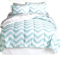 Modern Mint Chevron Zig Zag Queen Bed in a Bag & Home Style Exclusive Sleep Mask (9 Pc Bundle)