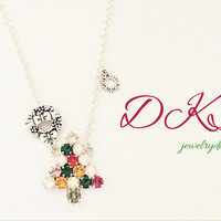 Oh Tannenbaum, Swarovski Christmas Tree Toggle Necklace, Multi Color, Wreath Toggle, Snowflake, DKSJewelrydesigns, FREE SHIPPING