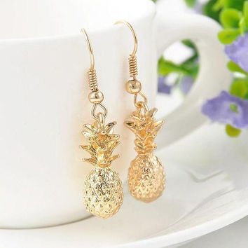 Fashion Women Gold Color Drangles Earrings Statement Pineapple Charms Earrings Jewelry Free Shipping