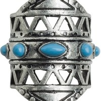 ETTIKA WIDE CUTOUT RING WITH STONES