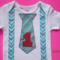 Boy blue chevron birthday outfit, Boy birthday blue tie shirt, Boy first birthday outfit, boy blue suspender Onesuit, multi colored tie shirt