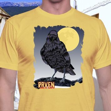 Raven T Shirt, Black Raven, Poe Shirt, Casual Shirt, Classic Tee, Bird Shirt, Spooky Shirt, Moonlight Shirt, Trendy Tee, Edgar Allen Poe