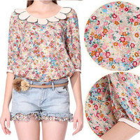Retro Doll Collar Half Sleeve Floral Shirt