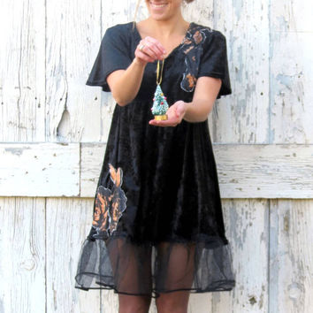 Black babydoll dress, upcycled little black dress, women's holiday dress, black indie fashion, ecofashion