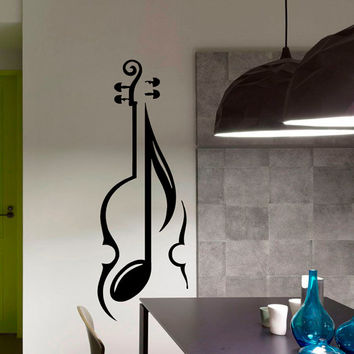 Violin Wall Decal Vinyl Sticker Wall Decor Home Interior Design Art Mural Musical Note Decal Na48