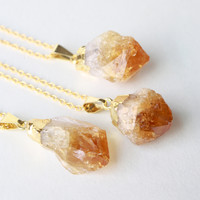 Gold Citrine Crystal Necklace