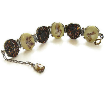 Vintage MIRACLE Bracelet Faux Tortoise Shell Art Glass & Moss Agate Glass