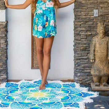Floral Swimsuit Cover Up Round Beach Cover Up Bikini Cover Up Beach Mat Yoga Mat with Tassels