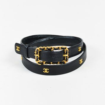 VINTAGE Chanel Black Leather Gold Tone 'CC' Belt SZ 90/36