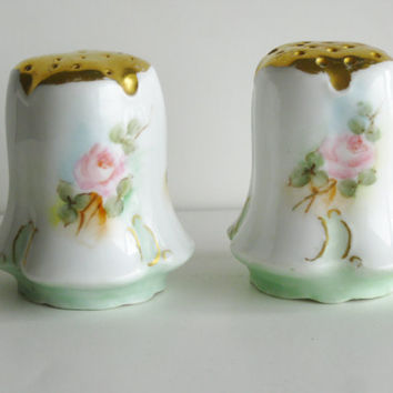 Wedding Gift Vintage Porcelain Salt Pepper Shakers Bavaria Tilly R C Rosenthal Handpainted Ceramic Pink Roses Floral Mid Century China