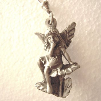 Fairy wood nymph key ring fob / zipper pull / fan pull, genuine pewter, purse zipper pull charm, fairy, nymph,woodland, fairy pendant, gray.