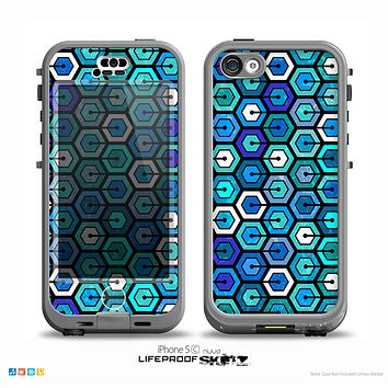 The Blue and Green Vibrant Hexagons Skin for the iPhone 5c nüüd LifeProof Case