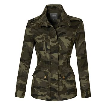 Long Sleeve Drawstring Waist Camo Military Anorak Jacket with Pockets