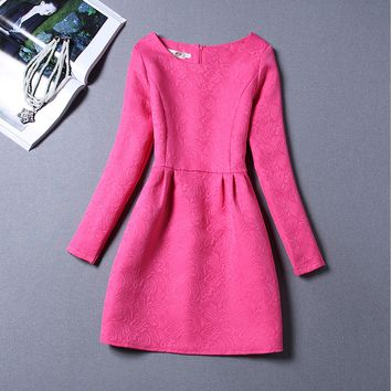 Plain Long Sleeve Jacquard Tutu Dress