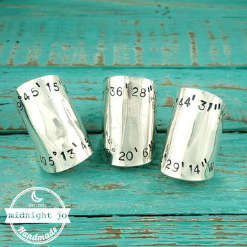 Custom Stamped Coordinates Wide Spoon Ring