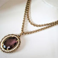 Avon Amethyst Necklace, Faux Pearls Surround Pendant, Long Gold Chain, Avon Original 1972