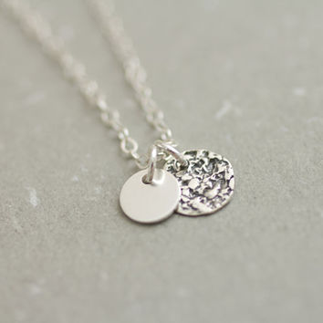 Sterling silver double layered coin discs necklace - simple everyday jewelry by AmiesAmies