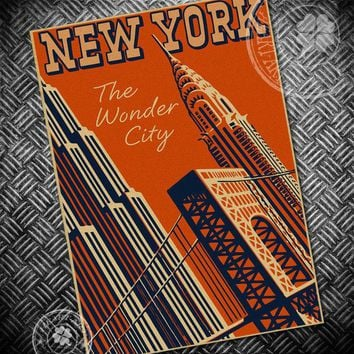New York city Retro Posters Vintage Poster kraft paper decorative painting paper posters wall sticker cafe bar pub print picture