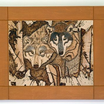Wolves, Pyrography, Wood Wall Art, Wood Burning Art