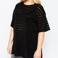ASOS CURVE Oversized T-Shirt In Mesh Stripe