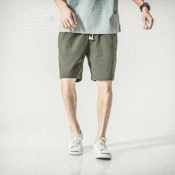 Summer Japanese loose straight cotton casual shorts men solid color washed linen beach pants