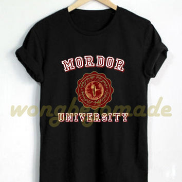 Mordor University Shirt Black Gray Navy and White Color T-Shirt