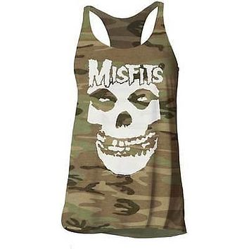 The Misfits Skull Logo Camo Juniors Tank Top