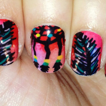 Nail decal wraps. Dream catcher ombre nail polish strips.