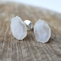 Geode Earrings, White Druzy Earrings, Post Stud Earrings, Tabasco Geode, Gemstone Earrings, Pastel Earrings, Natural Stone