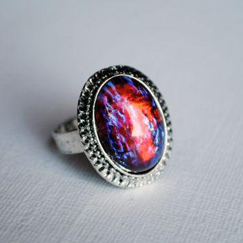 Dragon's Breath Ring -- Mexican Opal -- Fire Opal -- Adjustable -- Boho Chic -- Handmade -- Statement Ring -- Cocktail Ring