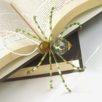 "Wonderful, Green and Gold Beaded Christmas Spider Ornament -- ""Legend of the Christmas Spider"""