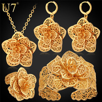 U7 Vintage Big Flower Jewelry Sets Gold Color Necklace Cuff Bracelet Earrings And Ring Bridal Wedding Jewelry For Women Gift S56