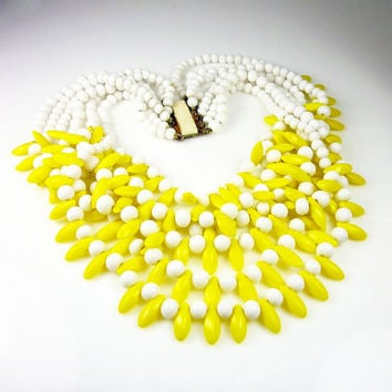 Vintage Necklace Milk Glass Yellow Bead Chunky Statement Jewelry