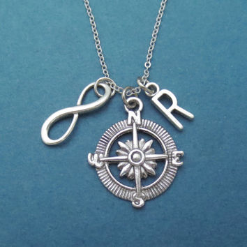 Personalized, Initial, Infinity, Compass, Necklace, Jewelry, Gift, Graduation, Gift, Christmas, Jewelry, New Year, Gift, Idea, Modern, Cute
