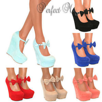 LADIES MARY JANE BOW HIGH WEDGE HEELS SHOE PLATFORM STRAPPY SUMMER SANDAL SIZE