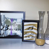 Personalized Wedding Sand Ceremony Framd Set with Matching Shadow Keepsake Box