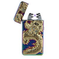 2016 New Dragon Embossed Double Arc Cigarette Lighter USB Charging Pulse Arc Metal Tobacco Cigarette Lighters