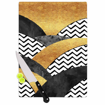 "Zara Martina Mansen ""Chevron Hills"" Gold Black White Cutting Board"