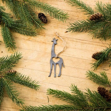 Love Giraffe Christmas Ornament Rustic Metal Animal Ornament Recycled Steel Holiday Gift  Industrial Decor Wedding Favor Iron Maid