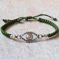Protection Talisman Bracelet, Silver Evil Eye Protector, Good Luck Jewelry, Olive Wristwear
