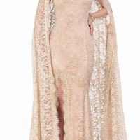Metallic Lace with Cape Evening Dress by Terani Couture