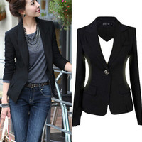 2016 Spring Autumn Women Slim Black Office Suit Jacket Ladies One Button Formal Business Casual Jackets Feminino S-3XL