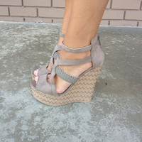 Florence Zig Zag Wedges- Beige