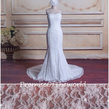 Gorgeous Lace Wedding Dress,Mermaid Beading&Pearls Bridal Dress,Sexy Low Back Wedding Dress,Sweetheart Strapless Wedding Dress,Handmade