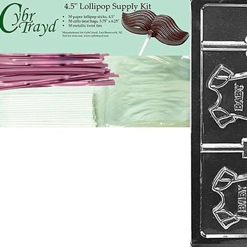 Cybrtrayd 'Baby Onesuit Lolly' Baby Chocolate Candy Mold with Chocolatier's Bundle, Includes 50 Lollipop Sticks, 50 Cello Bags, 50 Pink Twist Ties and Chocolatier's Guide
