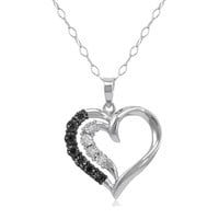 Black and White Diamond Heart Pendant Necklace in Sterling Silver