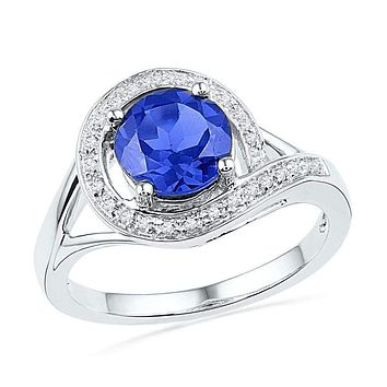 10kt White Gold Women's Round Lab-Created Blue Sapphire Solitaire Diamond Ring 1-7/8 Cttw - FREE Shipping (US/CAN)