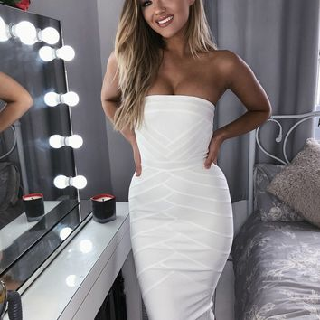 Amore white strapless open shoulder dress