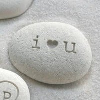 Petite love stone i heart u by sjEngraving by sjengraving
